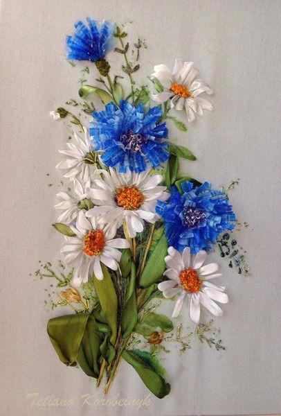 Composizione di fiori di campo, ricamato, nastro di Le meravigle di nastro su DaWanda.com