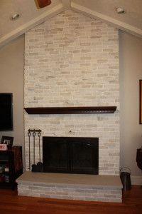 After brick fireplace