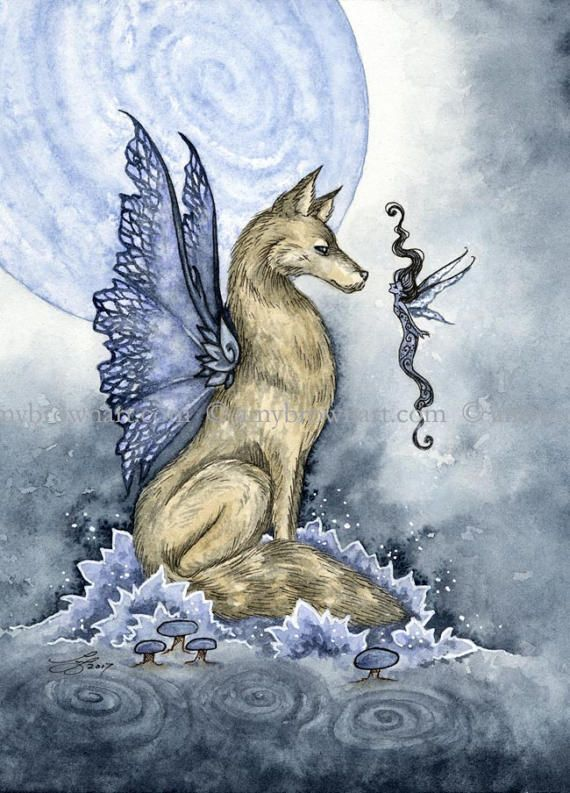 5x7 Wolf Moon fairy PRINT by Amy Brown