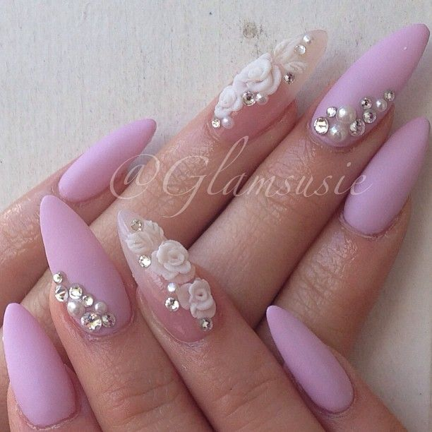 Nails / acrylic / 3d nail design / nail art / pretty nails / stiletto nails / pointy nails / oval nails / nail polish / flower nail design / rhinestones