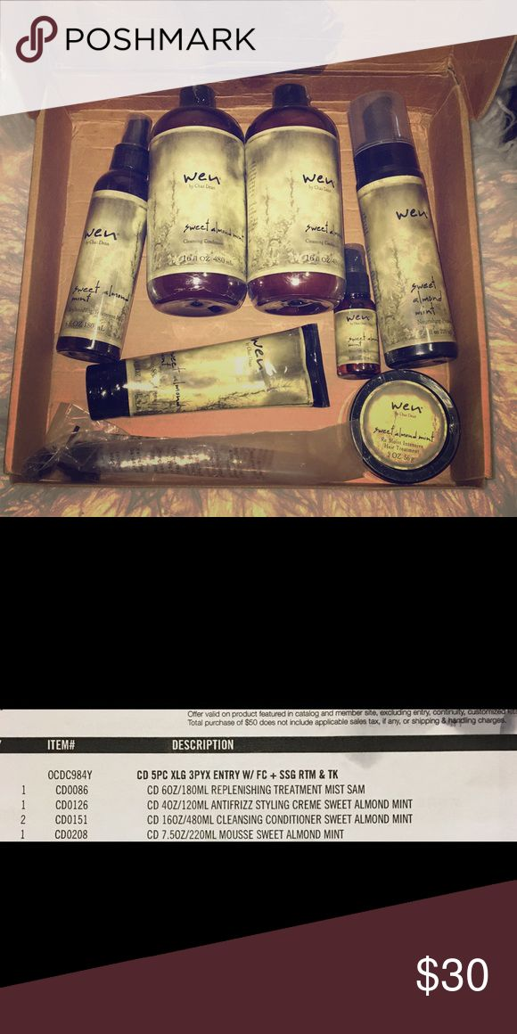 Wen Hair Care Kit Brand new wen hair care kit !! Not used!! Brand New !! box and papers that came with it. Pump ! Plus re moist intense hair treatment!! wen by chaz Dean Accessories
