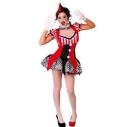 Serás la más divertida con este disfraz de bufón, con un vestido muy sexy y con los estampados de colores rojos y negros, como un arlequín, triunfarás.