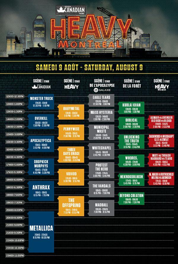 HEAVY MONTREAL Schedule