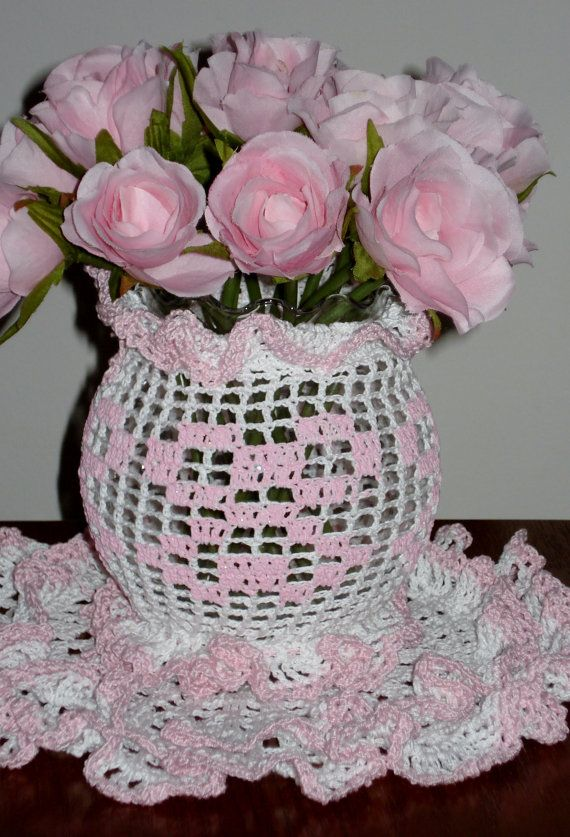 Filet Crochet Vase Cover and Matching Doily by CrochetedFashions, $15.00