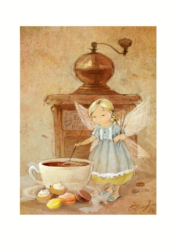 Иллюстрация Екатерина Бабок - Кофейная фея или с Бодрым утром) Откуда по-вашему берутся рисунки в кофейной чашке? А ведь это любимое занятие маленькой кофейной феи)