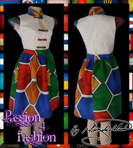 Traditional Ndebele dress, white bodice, chinese collar, cap sleeves and button detail in Ndebel print. Bottom of dress in full Ndebele print. #mariselaveludo #fashion #traditionalwear #passion4fashion #ndebeledress