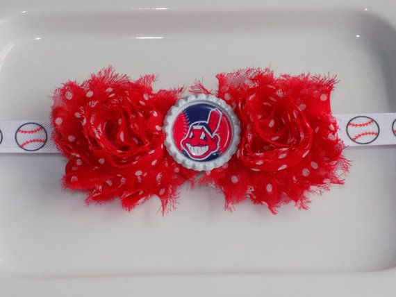 MLB Clevland Indians red with white polka by momsbowtiqueprincess
