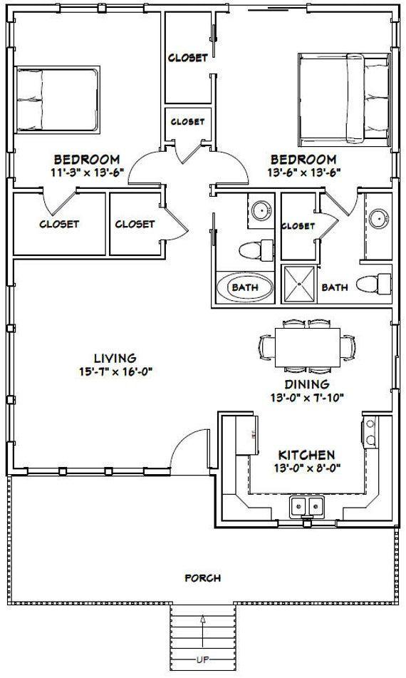 30×40 House — 2-Bedroom 2-Bath — 1,136 sq ft — PDF Floor Plan — Instant Download — Model 1B