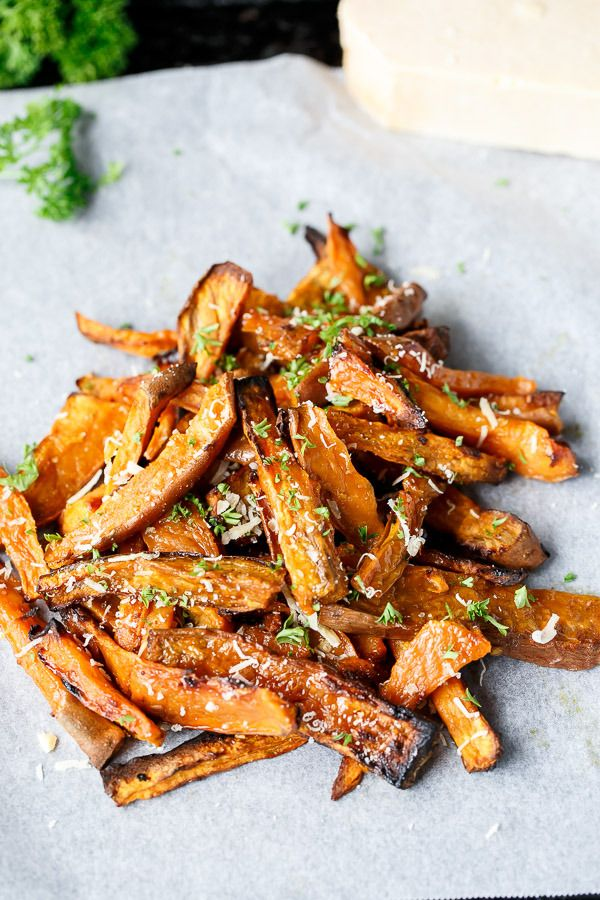 Oven Baked Garlic Butter and Parmesan Sweet Potato wedges.