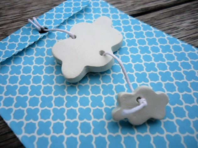 Clay Clouds with Turquoise Bag - Set of 15 by MYMIMISTAR on Etsy