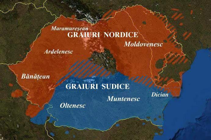Major varieties of the Romanian language.  Blue: Southern varieties Red: Northern varieties