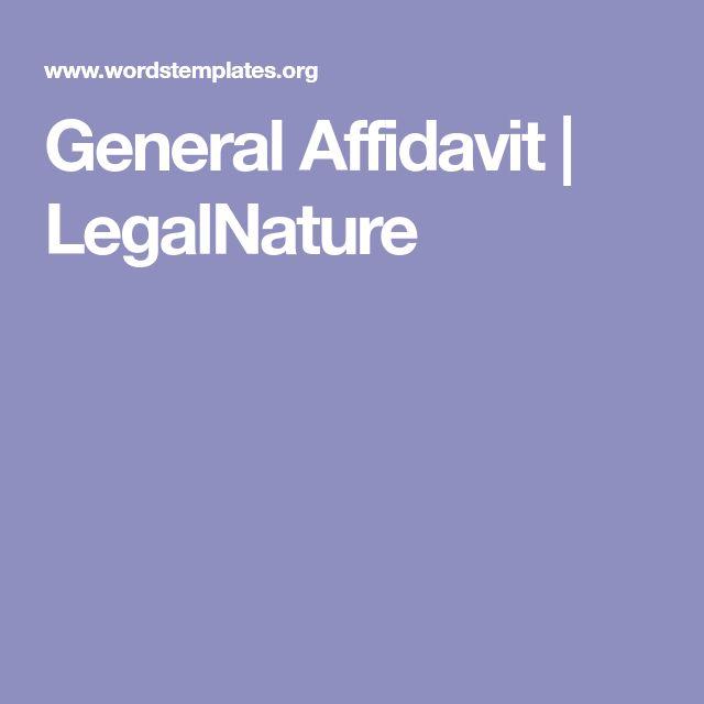 General Affidavit   LegalNature