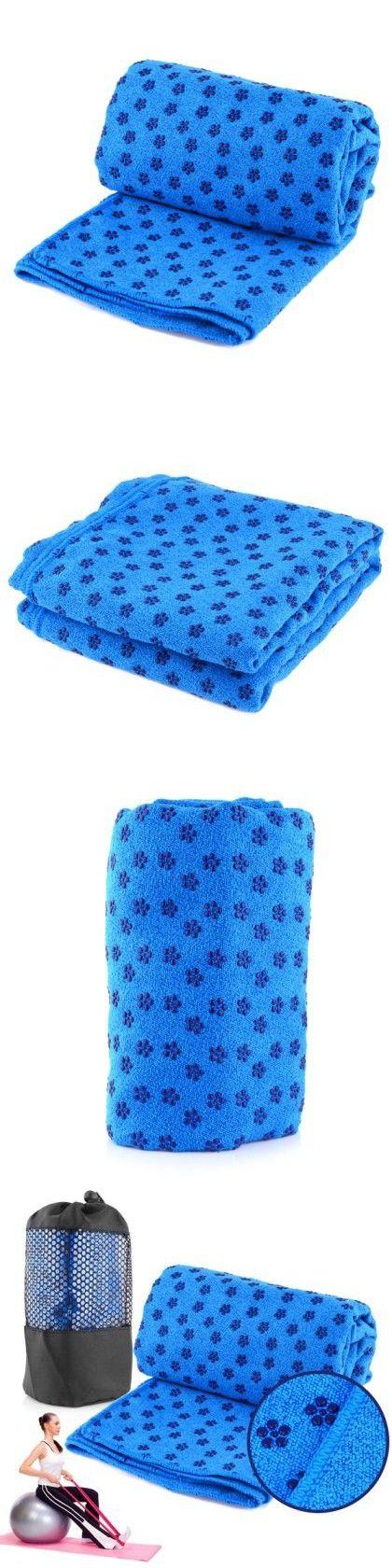 Kisstaker Superior Microfiber Anti Slip Yoga Mat Towels Blue