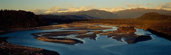 West Coast. Wanganui River Mouth at sunset.