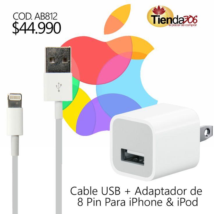Cable USB + Adaptador de 8 Pin Apple MFi Certificado