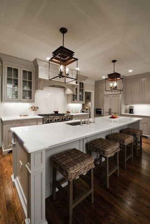Kitchens: Ideas, Kitchens Design, Cabinets Colors, Lights Fixtures, Grey Cabinets, Kitchens Islands, Eclectic Kitchen, Gray Cabinets, Painting Colors