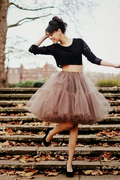 Crop top with ballerina skirt, really cute