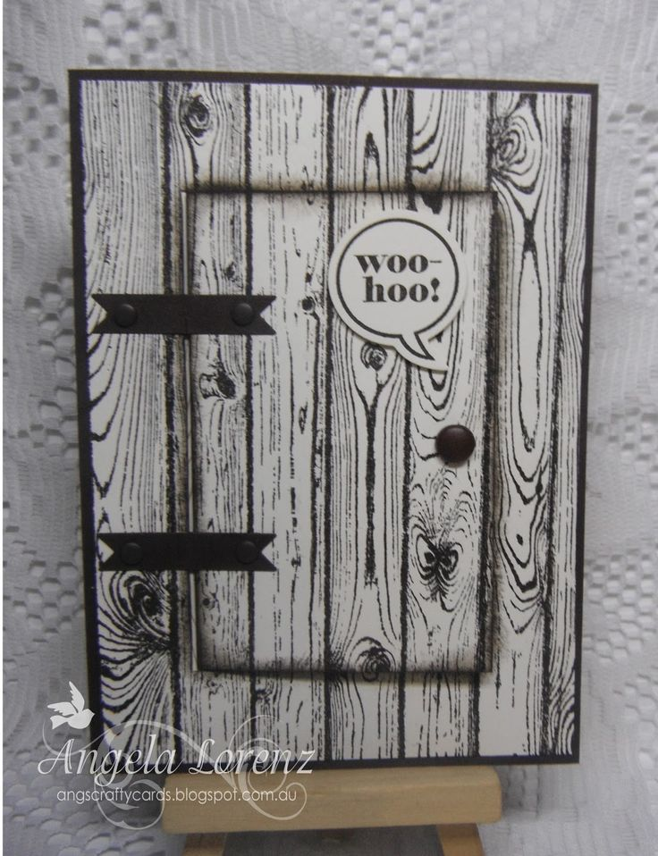 handmade birthday card by Angela Lorenz ...  stamped woodgrain boards ... hinged door opens to sentiment .. great design!!