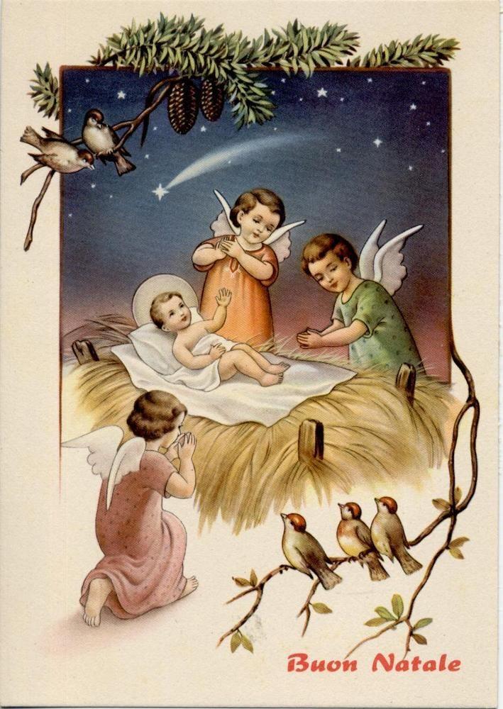 Angeli in Adorazione del Bambin Divino Xmas Cute Angels Vintage PC Circa 1950 4