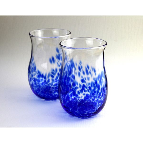 2 Hand Blown Glass Tumblers, Blue Glass, Beer Glasses, Two Glasses,... ($43) ❤ liked on Polyvore featuring home, kitchen & dining, drinkware, outdoor drinkware, blue tumbler, beer-glass, glass drinkware and blue water glasses
