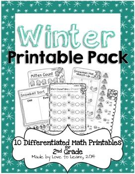 winter math printables differentiated for 2nd grade. Black Bedroom Furniture Sets. Home Design Ideas