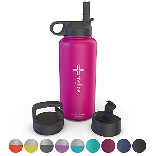 The Flow Stainless Steel Water Bottle Double Walled Vacuum Insulated Bpa Toxin Free Wide Mouth With Straw Lid Carabiner Lid And Flip Lid 32 Oz 1 Liter Water Bottle Stainless Steel