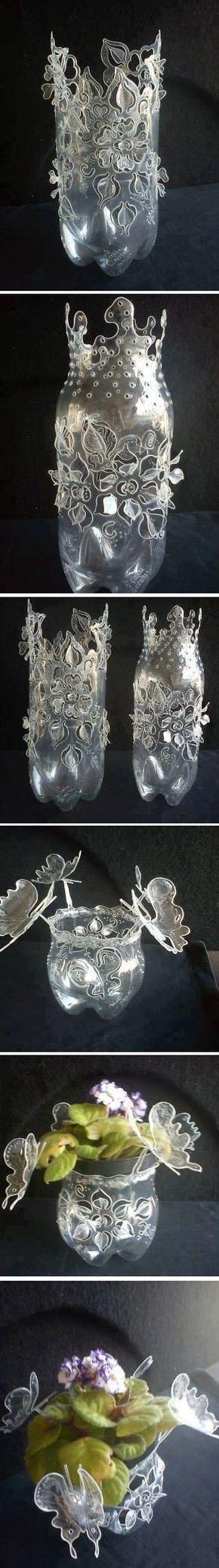 Adorno reciclado con botellas de plastico                                                                                                                                                                                 Más