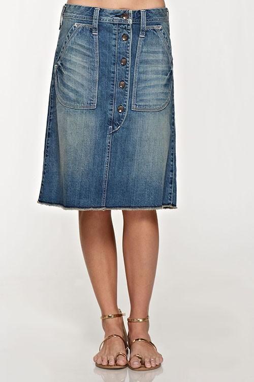b5c751cb21 Lovestitch Button Down Denim Utility Skirt in 2019   Moda   Button ...
