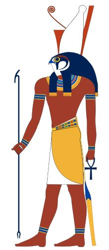 Horus, son of Osiris and Isis, is depicted as a man with the head of a falcon. Egyptian mythology states that Horus is believed to be the sky, with the sun and the moon included.