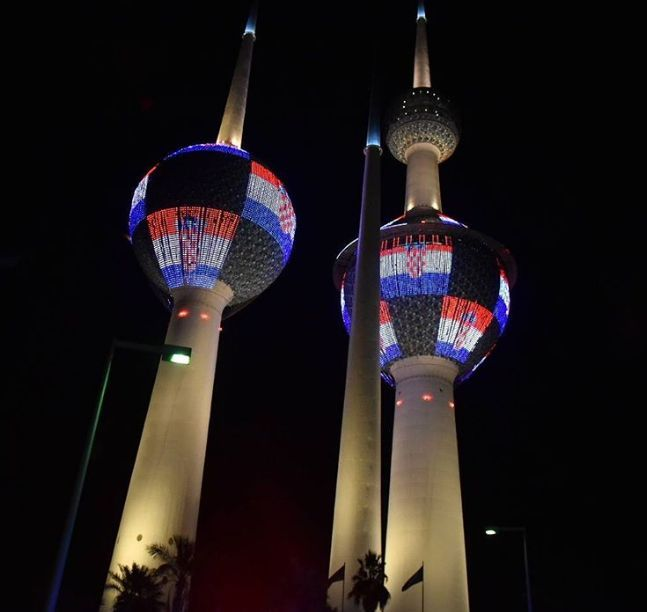 Kuwait Towers Light Up in Colours of Croatian Flag