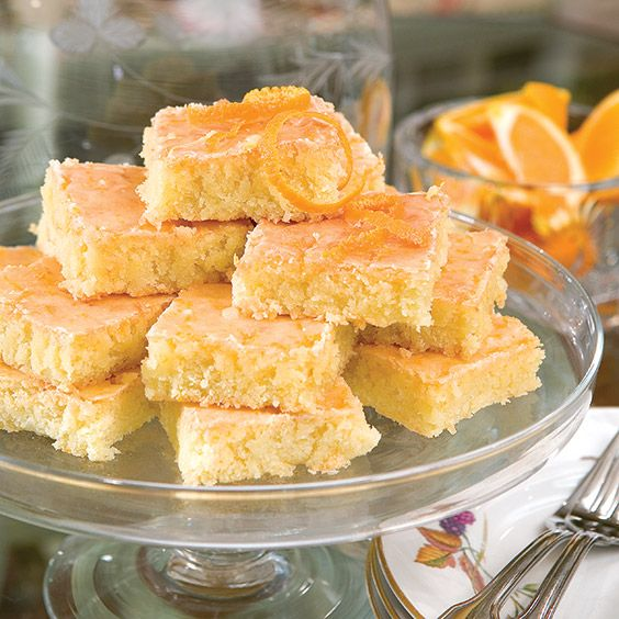 These chewy orange bars are bursting with citrus flavor.