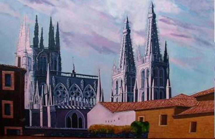 Titulo: Agujas de la catedral (Burgos), acrílico sobre tela, 116 x 73.