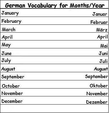 german vocabulary words for months of the year learn german wle german italian. Black Bedroom Furniture Sets. Home Design Ideas