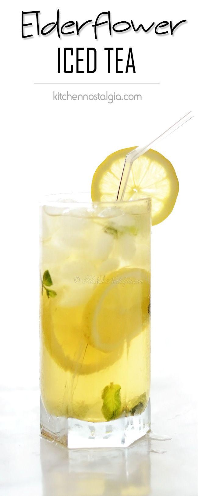 Elderflower Iced Tea - very healthy and super-delicious summer refreshment - kitchennostalgia.com