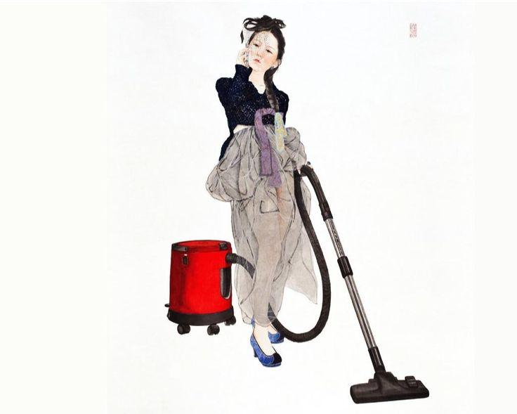 김현정.  <내숭 : 새빨간 거짓말>  한지 위에 수묵담채, 콜라쥬