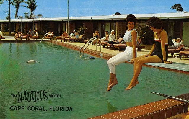The Nautilus Motel in Cape Coral, Florida - Advertising Postcard by Shook Photos, via Flickr: Capes, Nautilus Motel, Coral Places, County Florida, Capecoral Florida, Florida Pool, Vintage Florida