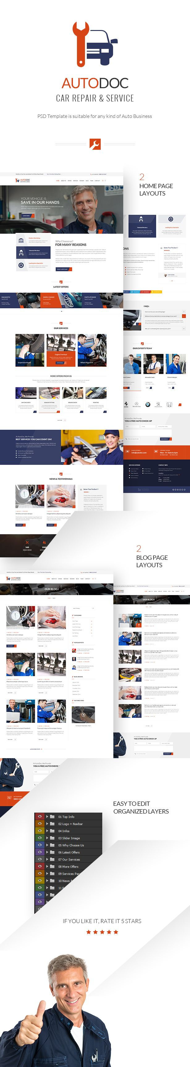 AutoDoc HTML Template is suitable for any kind of Auto Business like Auto Repair Services, Car Wash, Auto Repair Shop, Garages or Mechanical Workshops.