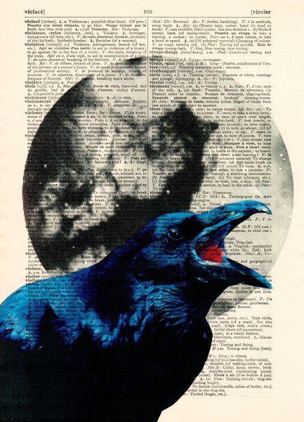 Stencils - Raaf in de maan kunst Dictionary boekpagina - Een uniek product van…