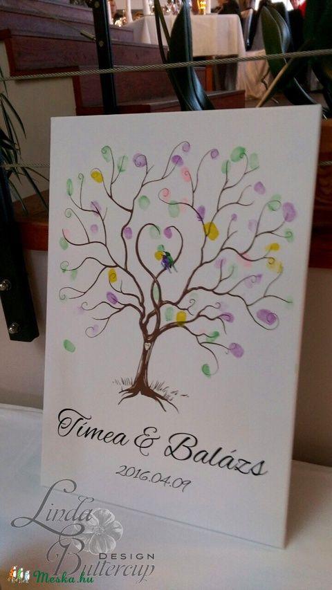 Ujjlenyomatfa Esküvőre, Esküvői ujjlenyomat fa, Esküvői fa, szerelmes madár pár, Emlék, Esküvői dekor, Esküvő, Dekoráció, Esküvői dekoráció, Nászajándék, Meska