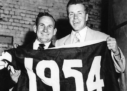 Ted Whitten & Charlie Sutton after the 1954 Premiership victory!