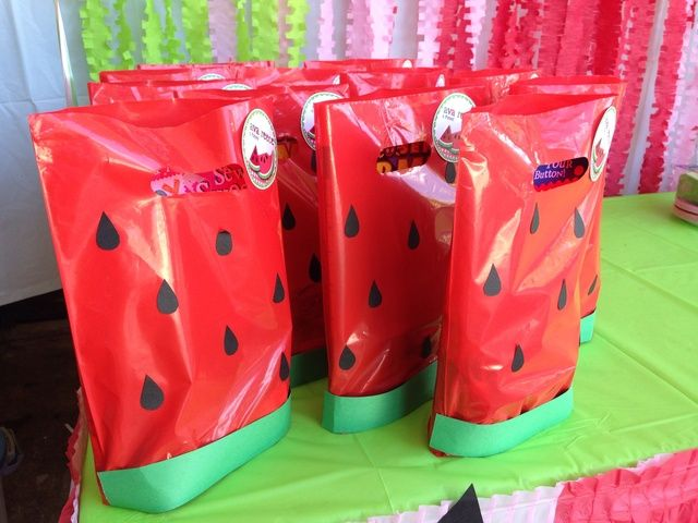 Goodie bags at a watermelon party! See more party ideas at CatchMyParty.com! #partyideas #watermelon