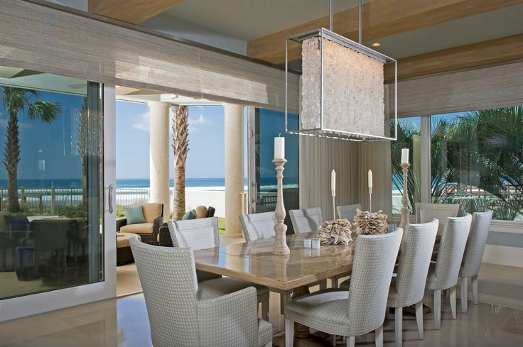 Plug in Crystal Chandelier Dining Room Opinion for Glass Wall with Beach Style - http://harpmortgageloanrefinance.com/plug-in-crystal-chandelier-dining-room-opinion-for-glass-wall-with-beach-style/