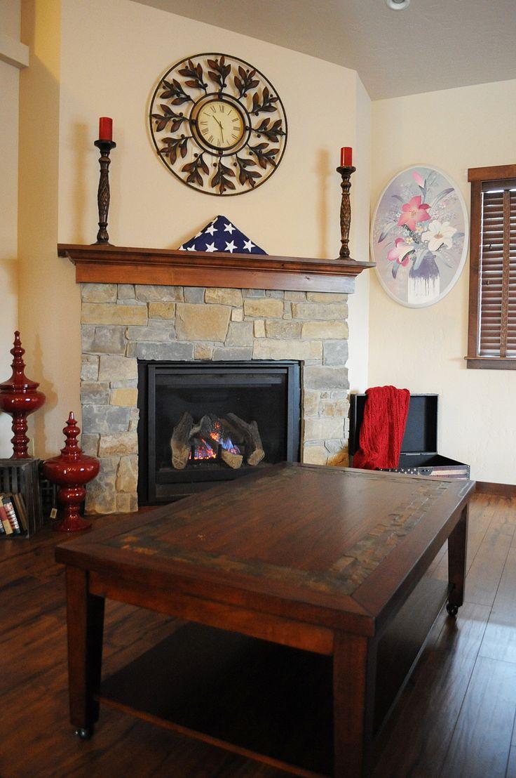 Fireplace at Timber River Home, Post Falls, Idaho.