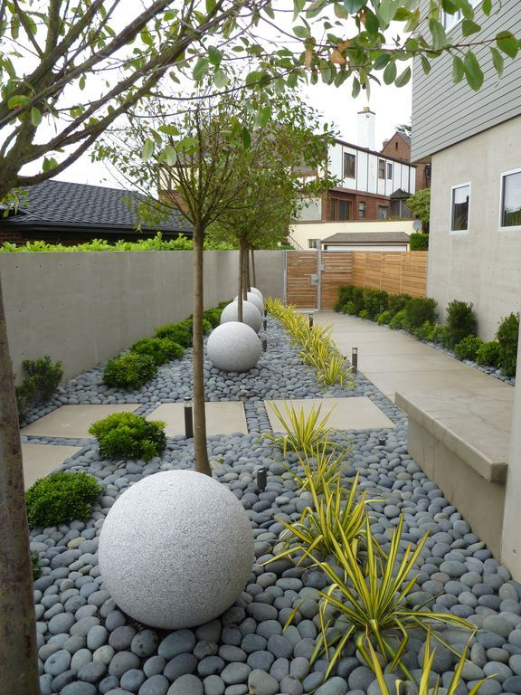 Contemporary Landscape/Yard with Mexican Beach Pebbles, exterior stone floors, Pathway, Gate, Fence, Raised beds