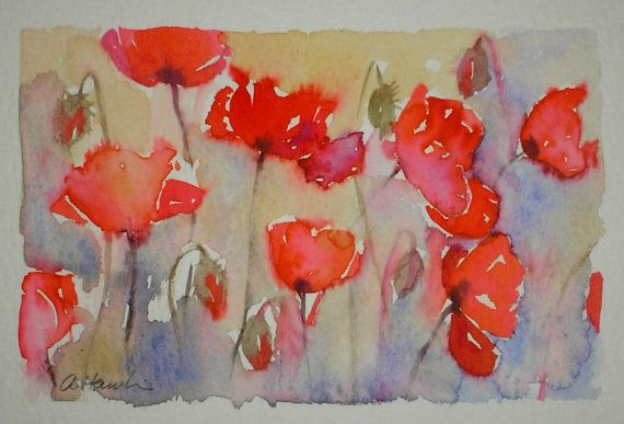Sale FIELD OF POPPIES original watercolour от TheMinervaGallery