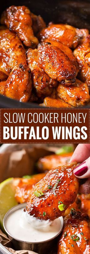 Slow Cooker Honey Buffalo Wings | Chicken wings are rubbed with spices, tossed in a sweet and spicy honey buffalo sauce, cooked in the slow cooker, then crisped up under the broiler for a finger-lickin' juicy hot wing! Slow cooker wings are the way to go this game day season! | The Chunky Chef | #chickenwings, #hotwings #chickenwingrecipe #buffalo #honeybuffalo #slowcooker #crockpot #gamedayfood