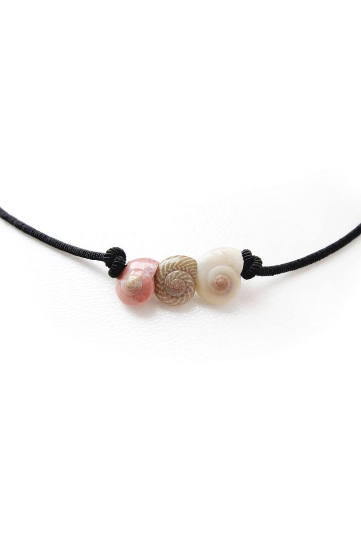 Seashell Necklace, Seashell Choker, Sea shell Black String Necklace, Seashell Jewelry, Sea shell Choker Necklace, Seashell String Necklace by Foncetta on Etsy https://www.etsy.com/listing/182436072/seashell-necklace-seashell-choker-sea