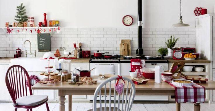 Красный декор кухни на новый год