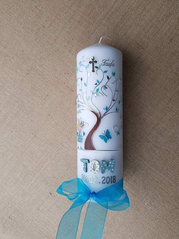 Taufkerze Junge Foto Engel blau