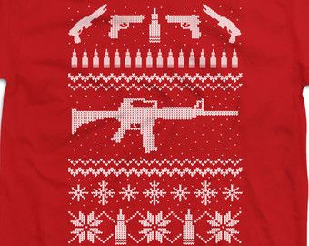 Funny Gun Shirt Ugly Christmas T Shirt Gifts For Gun Lovers Holiday Gift Ideas Gun Lover Gifts For Dad Presents For Him Mens Tee DN-240